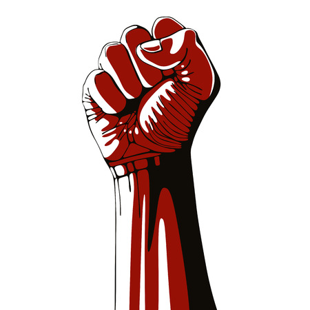 Illustration pour Clenched fist held high in protest isolated on white background, vector illustration. - image libre de droit