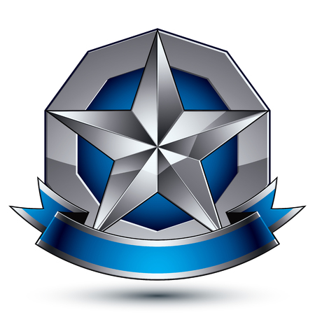 Sophisticated vector emblem with silver glossy star and blue wavy ribbon, 3d decorative design element