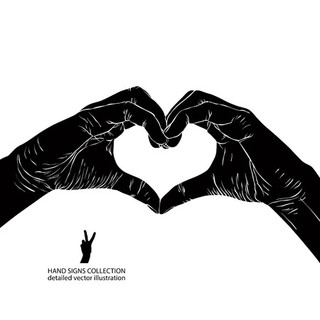 Hands in heart form, detailed black and white vector illustration.
