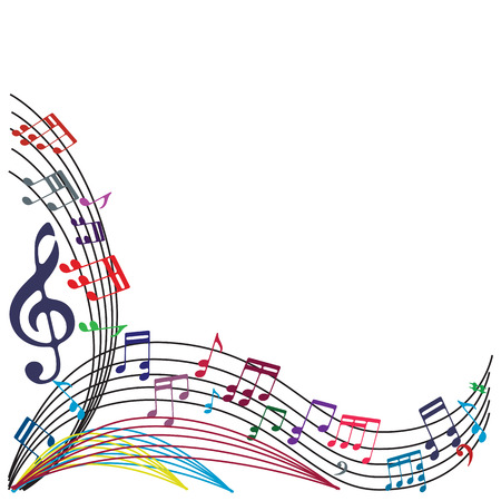 Music notes background, stylish musical theme composition, vector illustration.