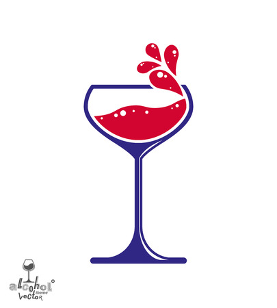 Simple vector wine goblet with splash, alcohol idea illustration. Stylized artistic glass of wine, romantic rendezvous object.