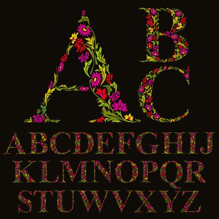 Floral font made with leaves, natural alphabet letters set, vector design.