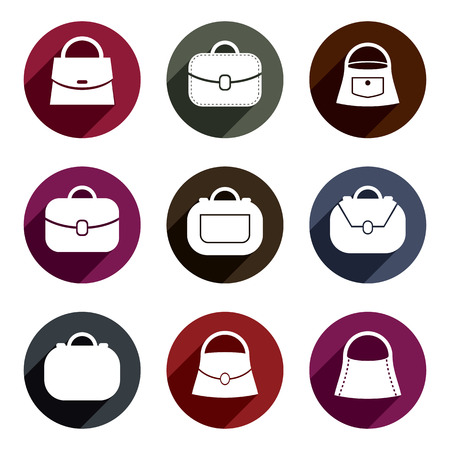 Bag vector icons set of 9 examples, fashion theme symbols collection.