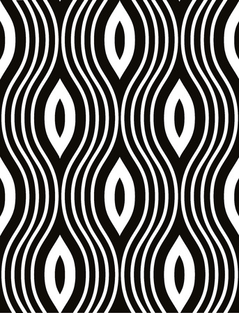 Waves seamless pattern black and white vector background.