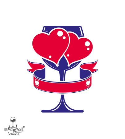 Vector art illustration of wineglass with two loving hearts
