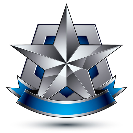 3d vector classic protection symbol, sophisticated silver emblem with pentagonal star isolated on white background, glossy argent element with blue splendid ribbon.