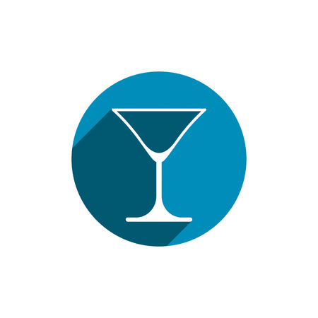 Alcohol beverage theme icon, classic martini glass placed in circle. Colorful restaurants and cafes brand emblem.
