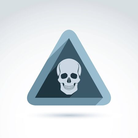 Vector illustration of a human skull in a triangle. Dead head abstract symbol, cranium icon. Caution concept.