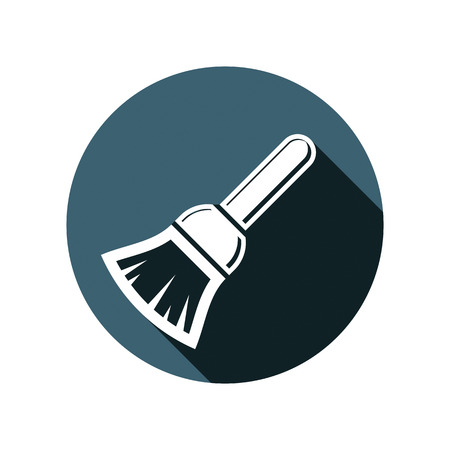 Renovation instrument used in whitewash, brush for wall painting. Classic reparation tool. Building theme graphic vector design element.