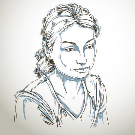 Vector portrait of sad attractive woman, illustration of good-looking sorrowful female. Person emotional face expression.