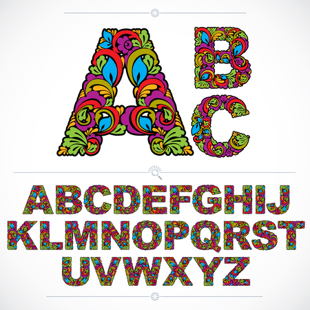 Floral font, hand-drawn vector capital alphabet letters decorated with botanical pattern. Colorful ornamental typescript, vintage design lettering.