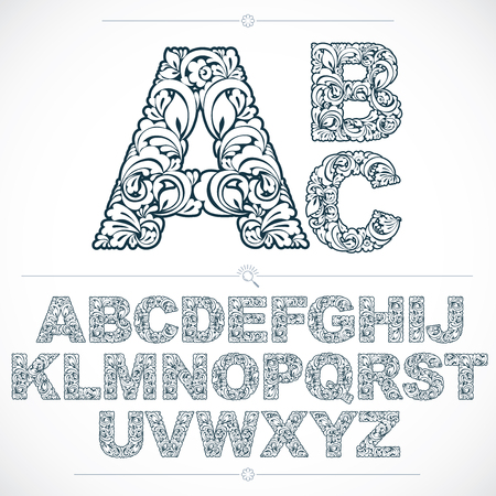 Floral alphabet sans serif letters drawn using abstract vintage pattern, spring leaves design. Black and white vector font created in natural eco style.