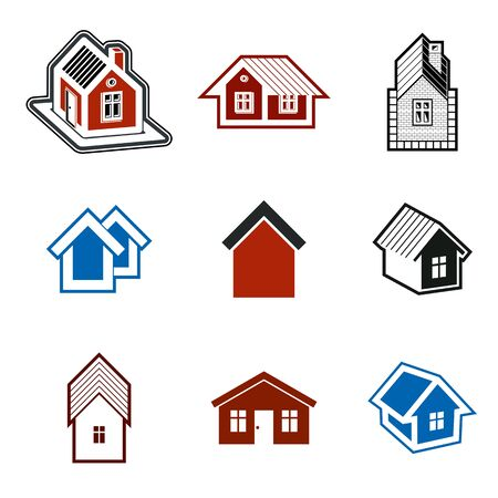Different houses vector icons for use in graphic design, set of mansion conceptual symbols, abstract property images. Real estate business abstract emblems collection.