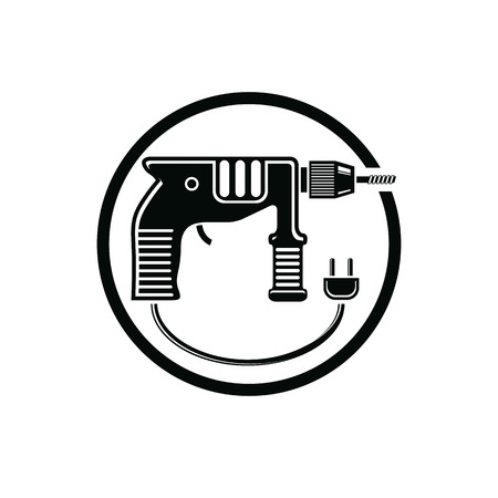 Professional instrument simple vector illustration, electric power tool. Building and manufacturing theme icon, drill symbol.
