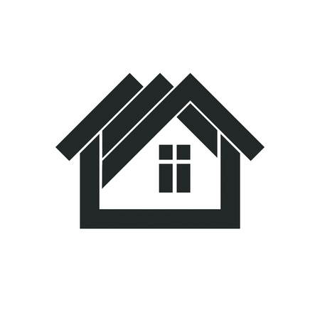 Simple architectural construction, vector house abstract symbol, design element.