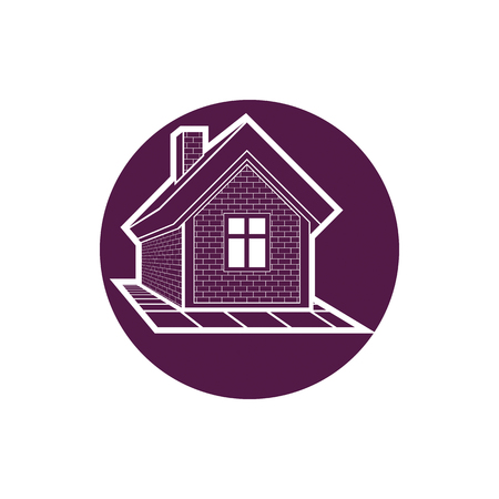 Property symbol, house constructed with bricks. Real estate agency vector emblem. Round sign with home illustration.