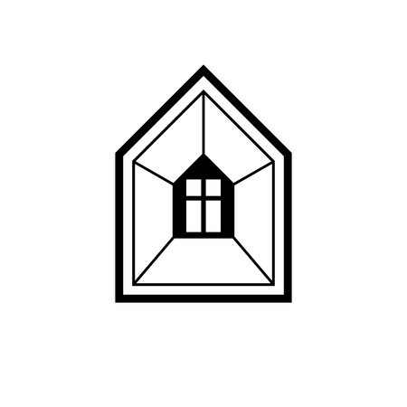 Property developer conceptual business vector icon, real estate emblem.  Building modeling and engineering projects abstract symbol. Simple house depiction.