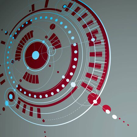 Geometric technology 3d vector drawing, red technical wallpaper. Dimensional abstract scheme of engine or engineering mechanism.