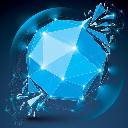 3d vector digital wireframe object broken into different particles, geometric polygonal structure with lines mesh and light effect. Low poly shattered glow shape, sparkle lattice form.