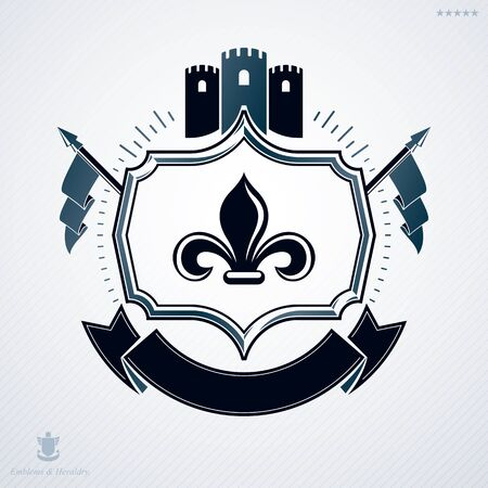Heraldic coat of arms made in retro design, decorative emblem with medieval fortress and flags