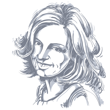 Vector drawing of smiling sincere woman with stylish haircut. Black and white portrait of attractive happy satisfied lady. Model posing.