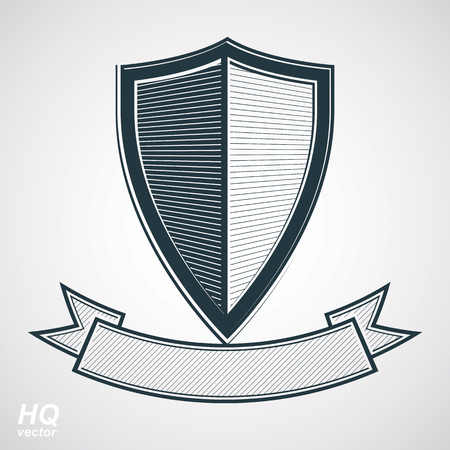 Military award icon. Vector grayscale defense shield with curvy ribbon, protection design graphic element. Heraldic illustration on security theme - retro coat of arms.