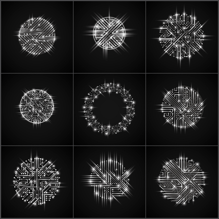 Round luminescent monochrome circuit boards with electronic components of technology device. Computer motherboards cybernetic vector abstractions with flash effect and arrows.