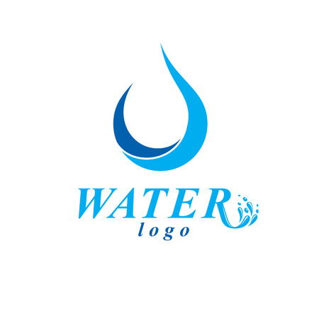 A Vector blue clear water drop logotype for use as marketing design symbol. Human and nature coexistence concept.