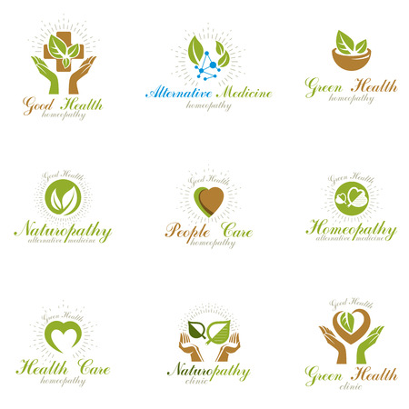 Illustration pour Living in harmony with nature metaphor, set of green health idea logos. Wellness center abstract modern emblems. - image libre de droit