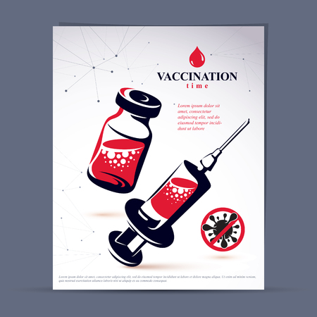 Antivirus vaccination booklet cover design, front page. Vector graphic illustration of medical bottle and syringe for injections.