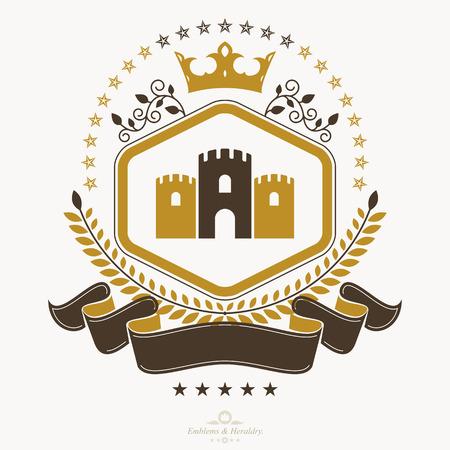Vintage award design, vintage heraldic Coat of Arms. Vector emblem.