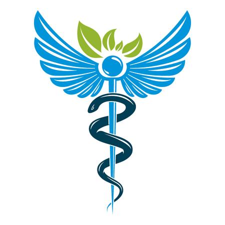 Illustration pour Caduceus symbol composed with poisonous snakes and bird wings, healthcare conceptual vector illustration. Alternative medicine theme. - image libre de droit