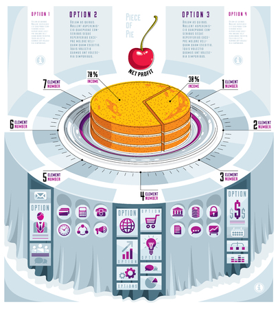 Creative infographics concept with piece of pie design.