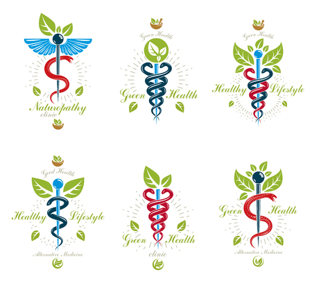 Illustration pour Set of Caduceus vector conceptual emblems created with snakes and green leaves. Wellness and harmony metaphor alternative medicine concept, phytotherapy icons. - image libre de droit