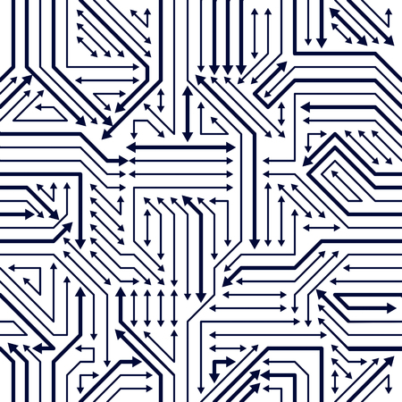 Microchip Board Seamless Pattern Vector Background Circuit