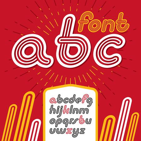 Vector retro lowercase English alphabet letters, abc