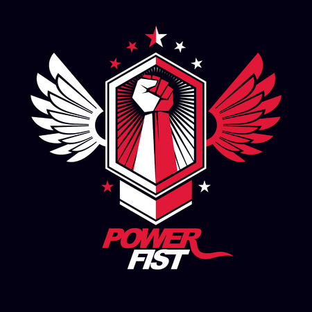 Strong fist of a muscular man vector illustration. Best fighter vector symbol, triumph concept.