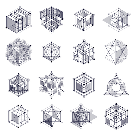 Ilustración de Vector drawings set of black and white industrial system created with lines and 3D cubes. Modern geometric composition can be used as template and layout. - Imagen libre de derechos