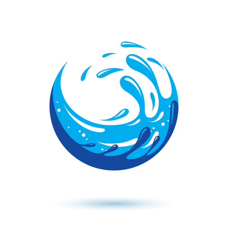 Global water circulation vector symbol for use in mineral water advertising. Human and nature coexistence concept.