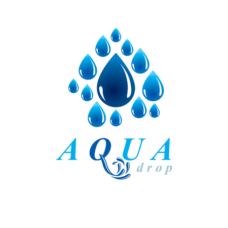Global water circulation vector logotype for use in spa and resort organizations. Human and nature coexistence concept.