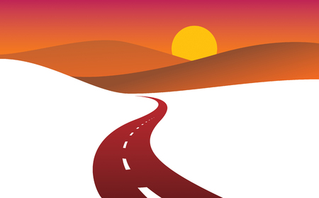 Illustration pour Country road curved highway vector perfect design illustration. The way to nature sunset, hills and fields camping and travel theme. Can be used as a road banner or billboard with copy space for text. - image libre de droit