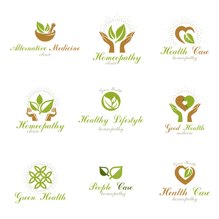 Living in harmony with nature metaphor, set of green health idea