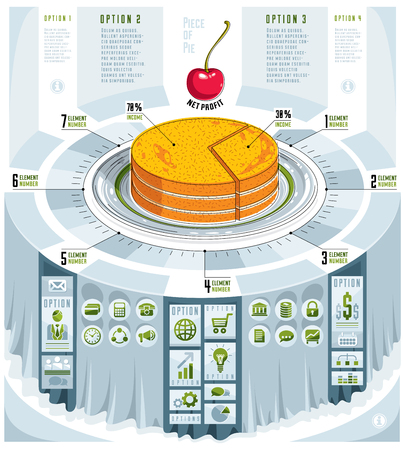 Creative infographics concept, piece of pie idea,vector illustration.