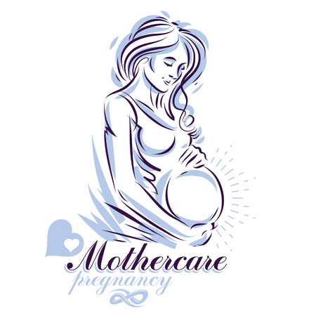 Pregnant female body shape hand drawn vector illustration, beautiful lady gently touching her belly. Mother Day conceptual flyer