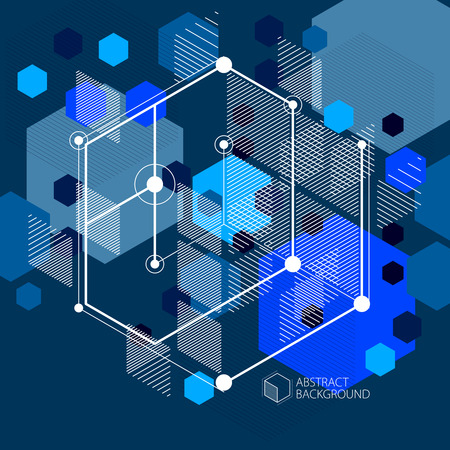 Lines and shapes abstract vector isometric 3D blue black background. Abstract scheme of engine or engineering mechanism. Layout of cubes, hexagons, squares, rectangles and different abstract elements.