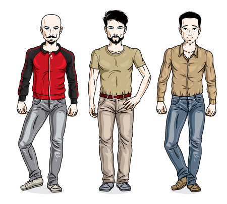 Handsome men posing wearing casual clothes. Vector diverse people illustrations set. Lifestyle theme male characters.