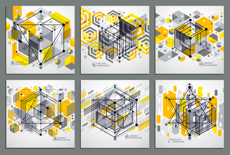 Vector abstract yellow backgrounds set created in isometric mesh lines style. Mechanical scheme, vector engineering drawing with cube and mechanism parts. Perfect background for your designs