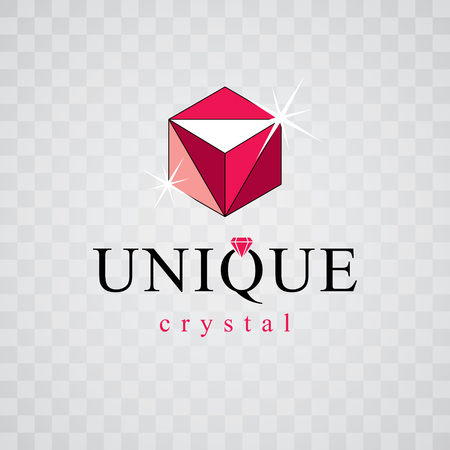 Vector glossy red ruby. Luxury diamond sign emblem, logo. Brilliant jewelry illustration.