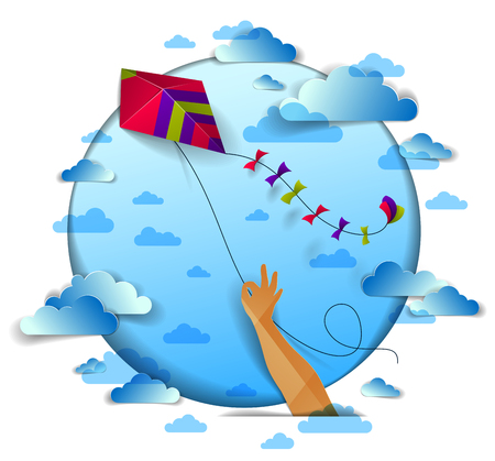 Illustration pour Hand holding kite over cloudy sky, freedom and easiness emotional concept, vector modern style paper cut 3d illustration. - image libre de droit