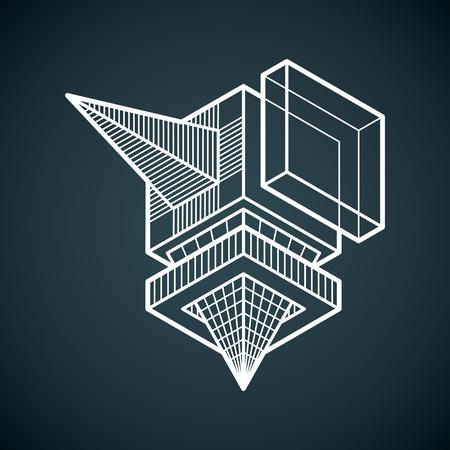 Illustration pour Abstract vector isometric dimensional shape made using geometric figures. - image libre de droit